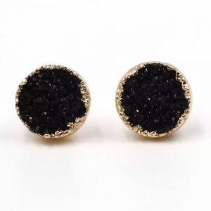 Jewelry - Black Round Druzy Crystal Stud Earrings
